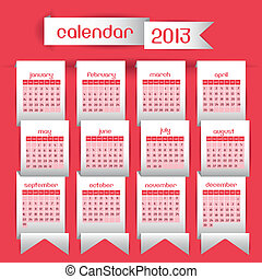 Calendar 2013 - Illustration calendar 2013, with ribbons on...