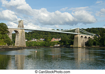 Menai suspension bridge - A view of the historic Menai...