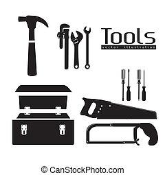 silhouette of tools, with a pipe wrenches, hammer, hacksaw,...