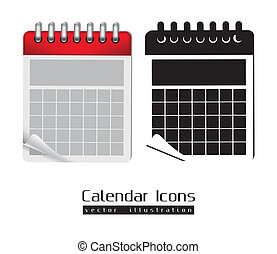 Calendar icons illustration isolated on white background,...