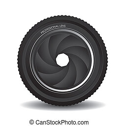 camera lens - Illustration of camera lens isolated on white...