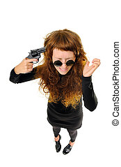 Suicide - Woman holding a gun to her head Top view Isolated...