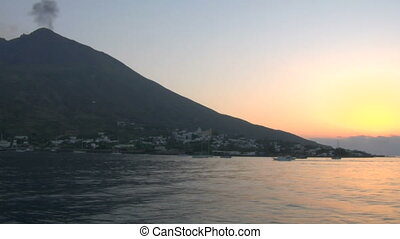 Stromboli 04 - View of the Stromboli volcano over the sea,...