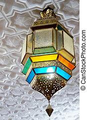 árabe, colorido, linterna