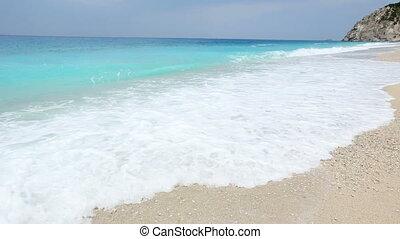 Surf waves (Lefkada Greece) - Surf waves on white Egremni...