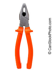 Combination pliers with orange grips, isolated on white...