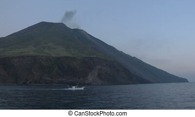 Stromboli 05 - View of the Stromboli volcano over the sea,...