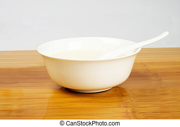 soya-bean milk in a white ceramic bowl