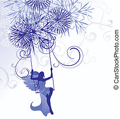 christmas winter vector blue illustration of angel woman on swings with detailed snowflakes isolated on white
