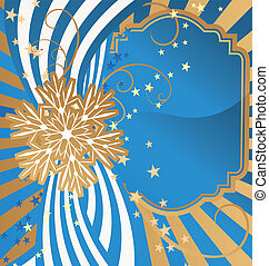vector golden detailed snowflake on striped blue background christmas illustration