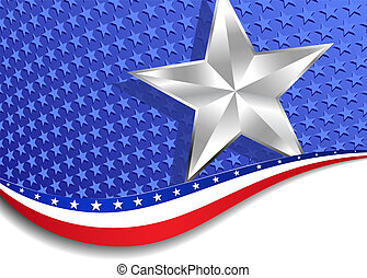 Stars and Stripes with Silver Star - A large patriotic...