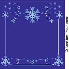 vector snowflakes frame light blue on dark background simmetric illustration