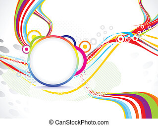 abstract wave background with circle vector illustration