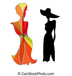 Silhouette female mannequin and black iron hanger -...