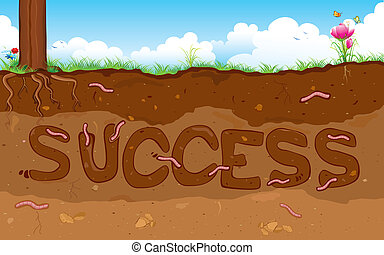 Success - illustration of success word formed under layer of...