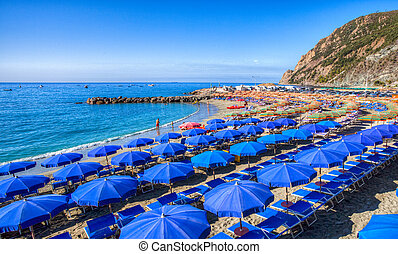 Beach Umbrella - Colorful beach umbrella at the Monterosso...