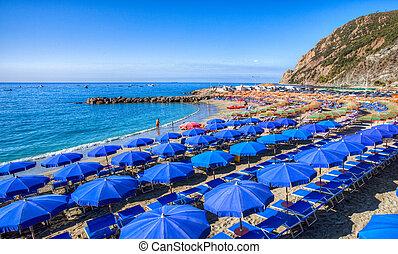 Beach Umbrella - Colorful beach umbrella at the Monterosso...