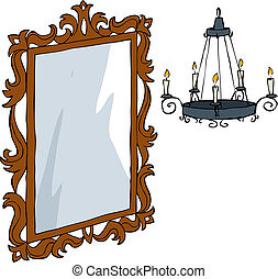 Mirror and chandelier