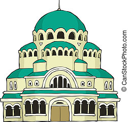The Byzantine church on a white background vector...