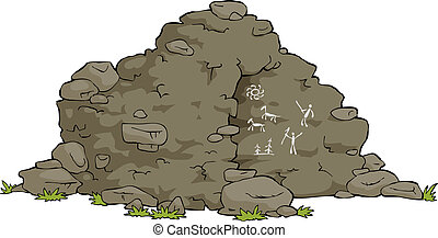 Cartoon cave - The cave is on a white background vector...