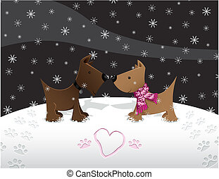 Snow Puppy Love - Puppies in lovein the snow