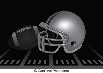 Football Helmet - Helmet and football on field