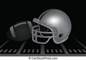 Football Helmet - Helmet and football on field