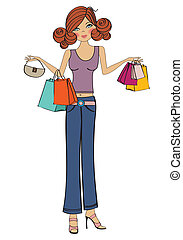 young girls at shopping, vector illustration isolated on...
