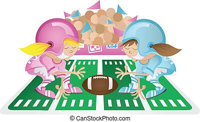 Powder Puff Football - Girls playing powder puff football in...
