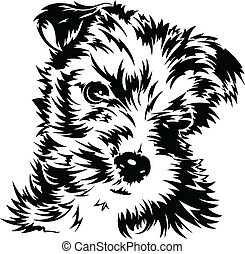 Puppy - Black and white illustration of a dog