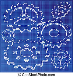 Illustration of gears on blueprint