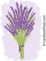 Illustration of lavender bouquet on watercolor background