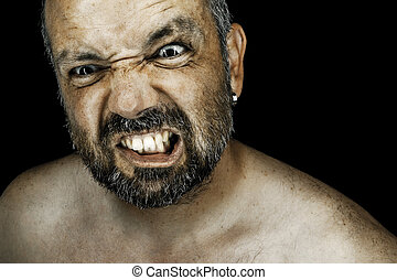 angry man with beard - An image of an angry man with a beard