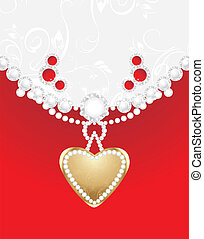 Heart with diamonds and strasses