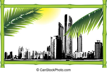 Panorama of city. Bamboo frame
