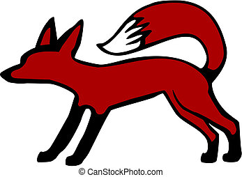 Fox standing - vector illustration of a cute fox with tail...