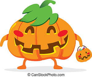 Trick Or Treat Pumpkin - Funny pumpkin cartoon character...