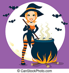 Sexy Witch Cauldron - Sexy witch cooking magical Halloween...