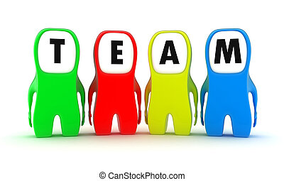 The team - Illustration of a team from multicoloured people