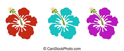 hawaiian flowers set, red green and purple