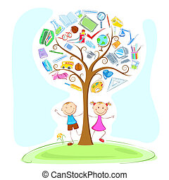 Kids under Wisdom Tree - illustration of kids under...