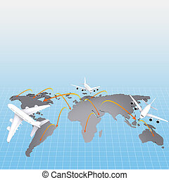 airplane around the world concept
