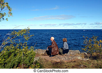 Enjoying Keweenaw Peninsula - Couple enjoy a sunny day...