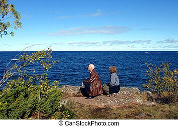Enjoying Keweenaw Peninsula - Couple enjoy a sunny day...