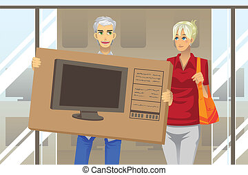 Couple buying TV - A vector illustration of a mature couple...