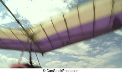 Hang Glider launching 02 - Hang gliding high above the...