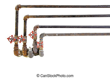 Old Plumbing Pipes with Valves - Old Heating Cooling Water...