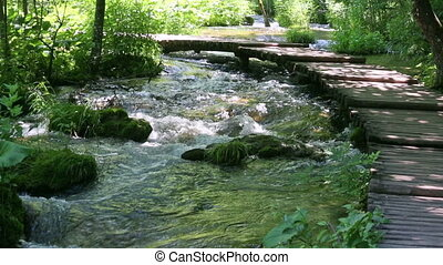 Summer mountain river with planked - Summer mountain river...