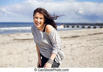 Confident Young Woman by the Beach