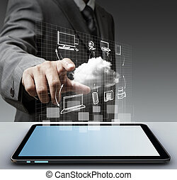 virtual cloud network concept - business man hand touch...